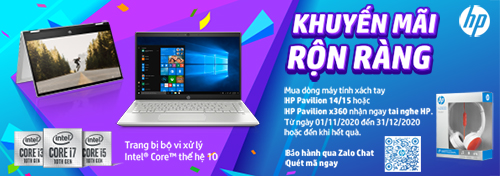 Mua laptop HP Pavilion Intel thế hệ 10/11 tặng ngay tai nghe HP H2800