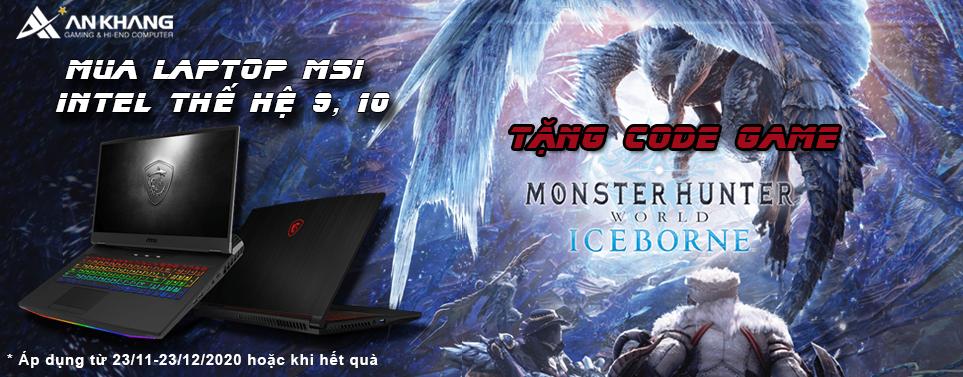 Mua laptop gaming MSI tặng ngay code game Monster Hunter World cực đỉnh