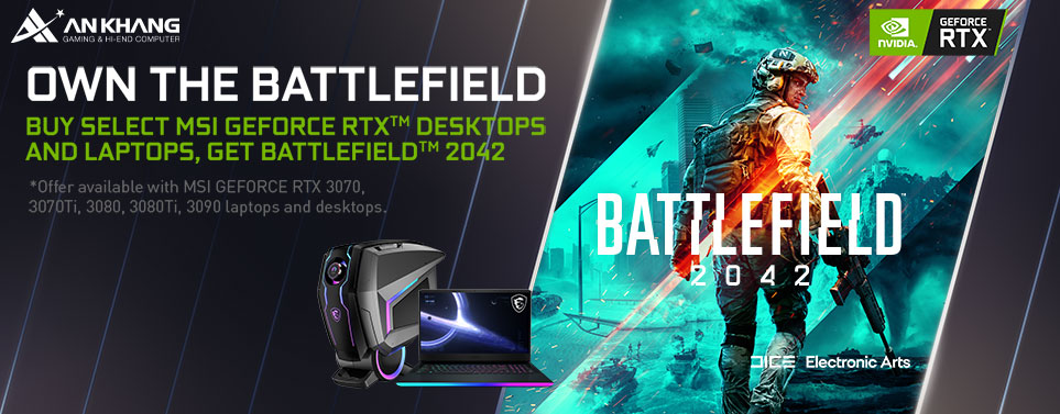 CTKM: Mua laptop MSI VGA RTX 30-Series nhận ngay game bản quyền Battlefield 2042