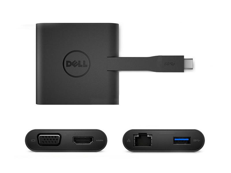 Thiết bị chuyển đổi tín hiệu Dell Kit-Dell DA200 Adapter USB Type-C to HDMI/ VGA/ Ethernet/ USB3.0 -S&P