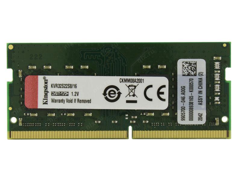 Ram Laptop Kingston 16GB DDR4 3200MHz D4-3200S22 1Rx8 Sodimm (KVR32S22S8/16)